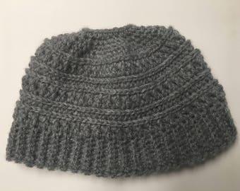 Messy Bun Beanie Hat Crocheted Ponytail Hat