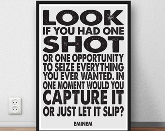EMINEM - LOSE YOURSELF  - quote Lyric Art Typography music Print Poster gift