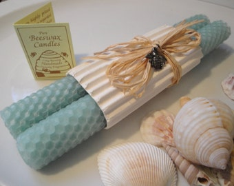 """Hand Rolled Honeycomb Beeswax Taper Candles  8"""" Pair - Aqua, Beeswax Candles, Light blue with a hint of green, beach theme, Tapers"""
