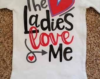The Ladies Love Me Baby Boy Valentine Bodysuit