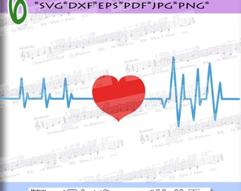 Heartbeat Svg - Valentine's day  SVGt  - Love Heart Svg - Heart with ekg - Silhouette Cut Files - DIY- Svg - Dxf- Eps - Png -Jpg - Pdf