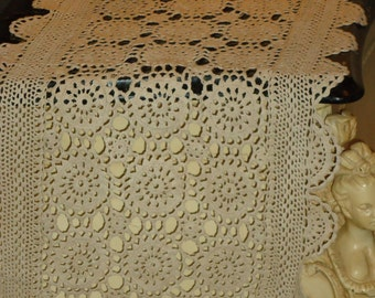 Vintage ECRU  Crochet Lace Tray, Table Runner, Dresser Scarf 14 by 45 inch, Makes perfect gift and Tomorrow's Heirloom
