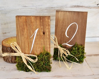 Wooden Table Numbers Moss Raffia. Rustic Wedding Table Number. Hand Painted Wedding Table Number. Rustic Wedding. Woodland Wedding.
