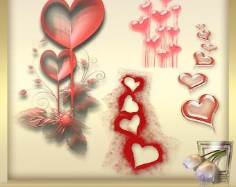 4 Valentine's Day Clipart vol. 5, Valentine heart clipart, Valentine clipart, heart love clipart digital overlays, INSTANT DOWNLOAD