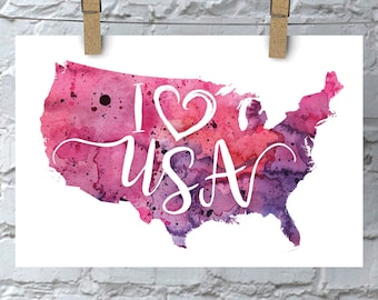 I Heart USA Map Art Print, I Love USA Watercolor Home Decor Map Painting, United States Giclee Art, Housewarming Gift, Moving Gift, Love USA
