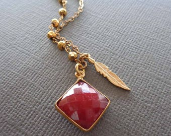 Ruby Necklace /Ruby Gold Pyrite / Ruby Feather Gold Necklace / Genuine Ruby Square Bezel, July Birthstone, Red Stone Feather Necklace