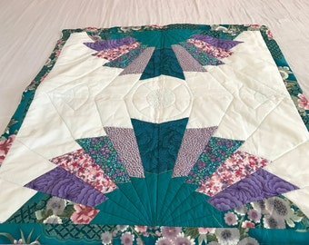 Japanese fan - Wall hanging fully quilted - beautiful 39 X 40 inches