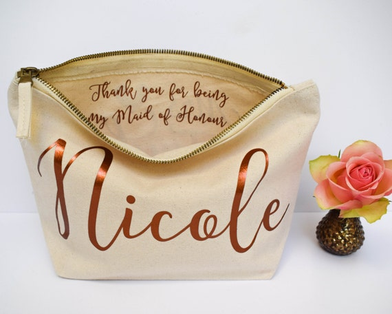 Wedding Thank You Gifts Unusual : Wedding Thank you Gift - Personalised Bridesmaid Gift Make Up Bag ...