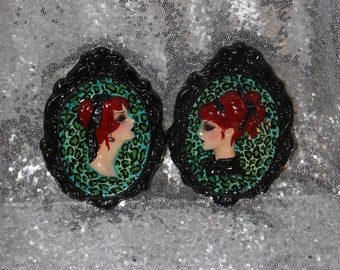 Set of Two Green Leopard Print Wall Hanging Cameos