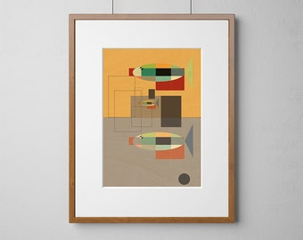 Geometric Fish Art Print | Wood Wall Art | Birch Wood |  A3 or 12 x 16 Inch | Free Shipping Worldwide