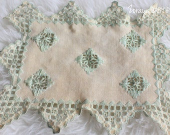 Baby Props,Vintage Doilies,Easter Props,Posing,Embroidery Square,Cream and Green,Cottage,Newborn Layering,Baby Photography,Zoraya Baby Props