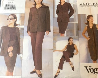 Vogue  Anne Klein American Designer Sewing Pattern Misses Jacket Top Skirt Pants Belt Fitted Fully Interlaced Lined Size 6 8 10 Uncut FF