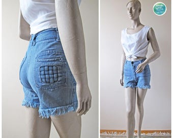 Vintage Frayed Braided Pocket Denim Shorts Size XS | Distressed Cut Off Festival Bottoms | 6 Pocket High Waist Jeans | breathe and let it be