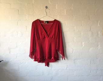 INCREDIBLE red vintage wrap style top