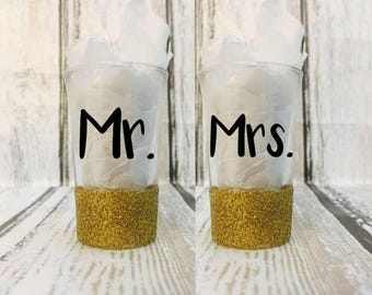 Mr. & Mrs. Glittered Shot Glasses - Engagement Gift - Wedding Gifts