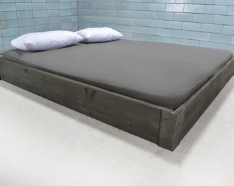 Floating bed made of reclaimed wood & iron CHARLEVAL