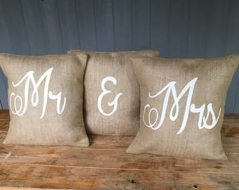 Mr Mrs Pillow Set, Wedding Pillows, Mr Pillow, Mrs Pillow, Burlap Pillow Set, 16x16 Pillow, Mr  Mrs Pillow