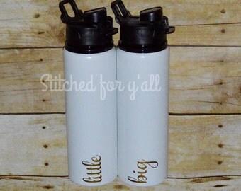 Sorority big and little aluminum water bottle/ greek water bottle