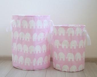 Toy basket, Laundry basket, Toy storage, Nursery fabric basket, Pink and white, Elephants prints