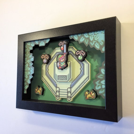 Zelda 3D Shadow Box with Master Sword from Legend of Zelda: A Link to the Past for Nintendo in 16 Bit Style 5x7