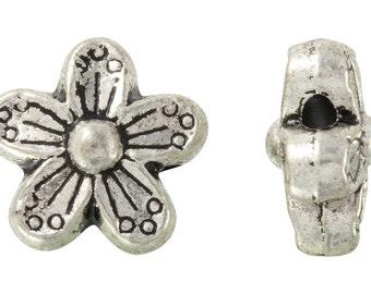 18 Pcs 10 mm Zinc Alloy Five Petal Flower Shaped Beads (PUT4001050)