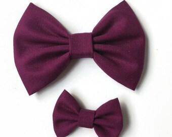 Berry Fabric Hair Bow - Kona Fabric Bow - Burgandy Fabric Bow - Fabric Hair Bow - Fall Fabric Bow - Girls Hair Bow - Kona Cotton Hair Bow