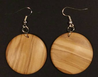 Earrings in olive wood hand turned