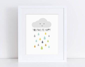 Happy Cloud (Blues) - Nursery Print - Children's Wall Art - Baby Nursery Decor