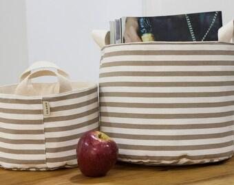 Fabric organizer bin. Fabric Storage Basket. Stripes Kaky fabric. Storage basket. Kids room storage