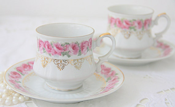 Set of Three Lovely Vintage Porcelain Cup and Saucers with Pink Rose Decor