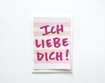 Ich Liebe Dich, I love you, Flat German Postcard