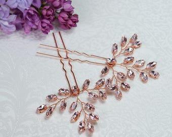 Set of 2, Bridal Hair pins, Rhinestone hair pins, Silver Hair Pins, Wedding Hair pins, Rose Gold Hairpins, Wedding Hairpins, Blush headpiece