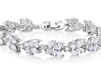 Classic Bracelet Bridal Bracelet Wedding Bracelet Bridesmaids Bracelet Bridesmaids Jewelry Wedding Jewelry Silver Bracelet CZ Bracelet