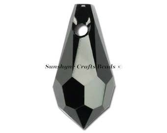 Swarovski Crystal Beads 6000 2pcs JET BLACK Teardrop Faceted Pendant - Sizes 11mm, 13mm & 15mm available