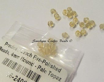 Preciosa Czech Fire Polished Beads PALE TOPAZ 4MM Faceted Round Bead 100 pcs