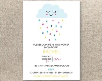 Baby Shower Invitation - Digital Baby Shower Invite - Printable Baby Shower Invite - Baby Shower Set - Rain Cloud Baby Shower Invitation