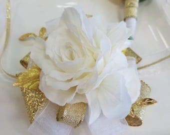 Ivory White and Gold Prom Corsage and Boutonniere Set