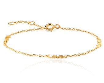 Love bracelet - silver love Bracelet - chain Bracelet - valentine bracelet - dainty everyday- dainty everyday jewelry