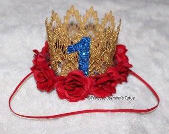Snow White birthday crown. Theme crown . Birthday crown . Photo props . Snow White inspired crowm . Cake smash outfit . Lace crown