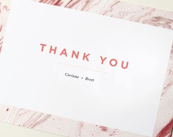 Modern Thank You Cards | Marble Thank You Card, Simple Wedding Thank You, Wedding Thank You, Custom Thank You, Geode Thank You
