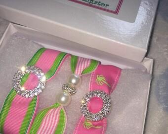 Preppy Pink and Green Bracelet Set