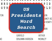 US Presidents Printable Word Search Puzzle, Educational Game, Classroom Activity, Inauguration Day Game, Presidents Day Game, Digital File
