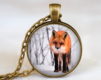 Fox in Snow - Nature Animal Handmade Pendant Necklace