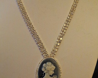 Austrian Crystal Cameo Necklace
