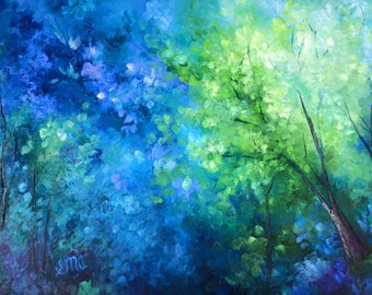 """Original Oil Landscape Enchanted Forest Colorful Scenery Trees Modern Impressionism 30""""X40"""""""