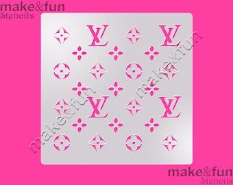 LV Cake Stencil, Cookie Stencil, Designer, Pochoir, Decoupage stencil, Tortenschablone  (Product Code K022)