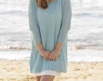 Knitted woman jumper long sweater with 3/4   sleeves in DROPS Brushed Alpaca Silk