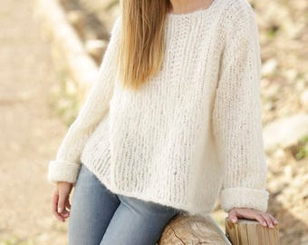 Knitted oversized alpaca wool sweater, jumper, with textured pattern on yoke and folded sleeve edges, in Alpaca and Wool, Alpaca Sweater