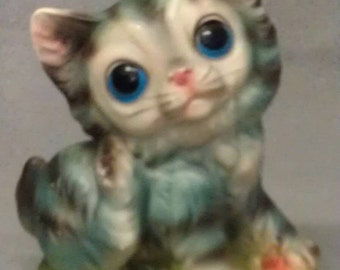 Turquoise Look Blue Cat with Beige Face and Ears Blue Eyes and Pink Nose on Mound Cat Figurine