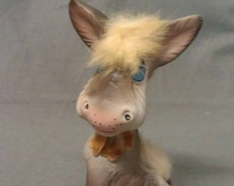 Norleans Grey and Beige Donkey with Blue Eyes and Pink Ears and Nose Donkey Figurine